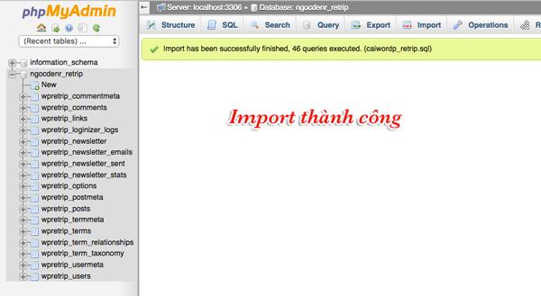 import database thành công