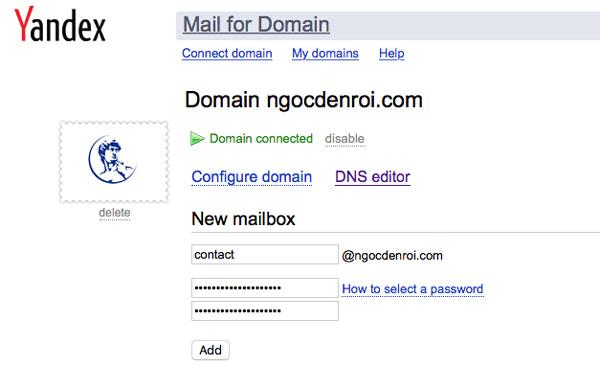 tao email ten mien rieng voi yandex