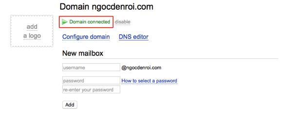 verify domain thành công