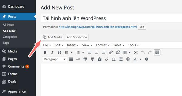 cách chèn ảnh vào bài viết wordpress