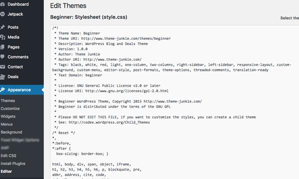 tắt tính năng sửa theme và plugin