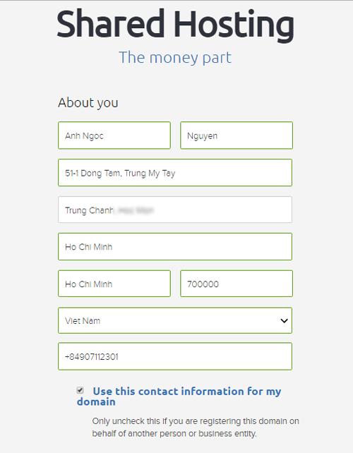 cach dien thong tin khi mua hosting