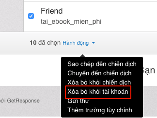 xoa email trong danh sach