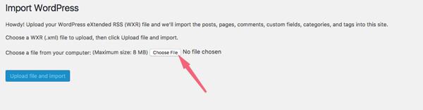 import dữ liệu vào wordpress