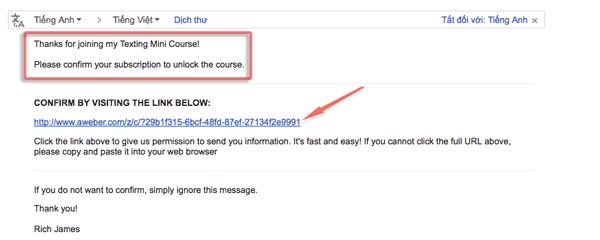 email yêu cầu xác nhận