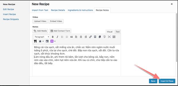 plugin cong thuc nau an cho blog am thuc