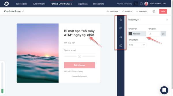 cách thiết kế form thu thập email