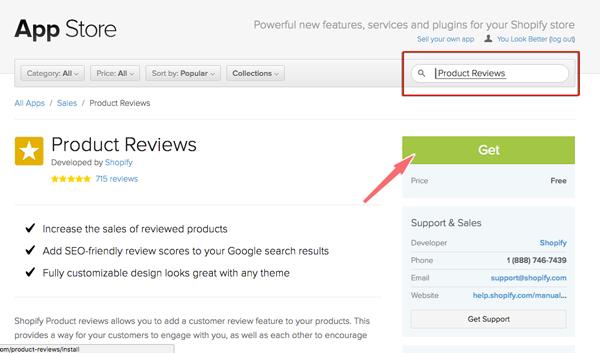 cai app product reviews cho shopify