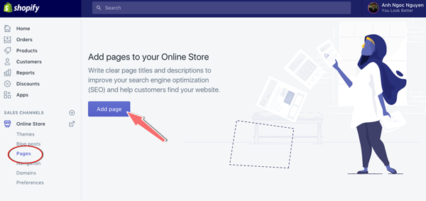 tạo page trong shopify