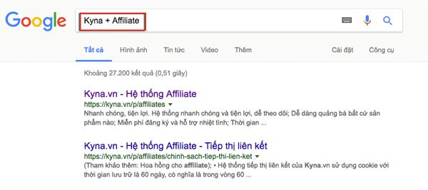 tim chuong trinh tiep thi lien ket tren google