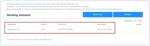 verify domain record cho email marketing