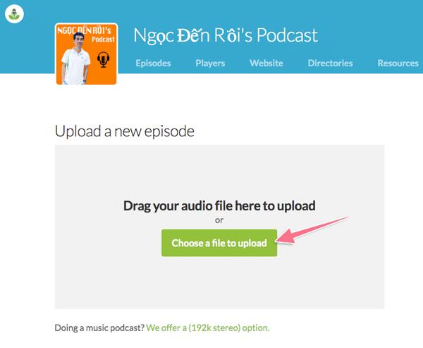 tai file mp3 lên kênh podcast