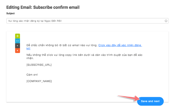 cau hinh email chao mung