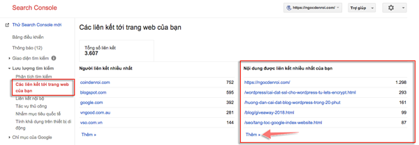 tim trang co nhieu backlink trong google console