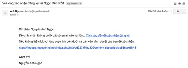 email xac nhan tham gia danh sach