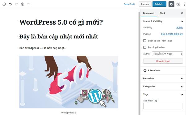 huong dan trinh soan thao moi cua wordpress 5.0