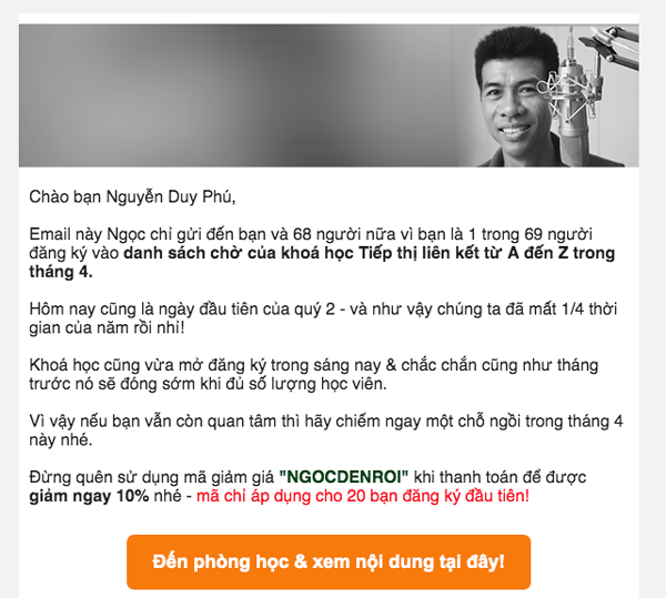 cach gui email chao hang khoa hoc online