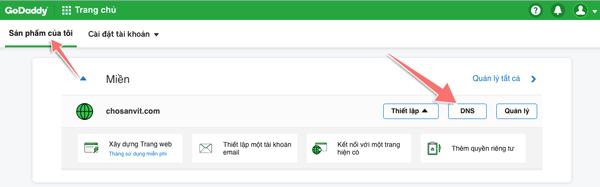 cách thay đổi DNS của tên miền trên godaddy