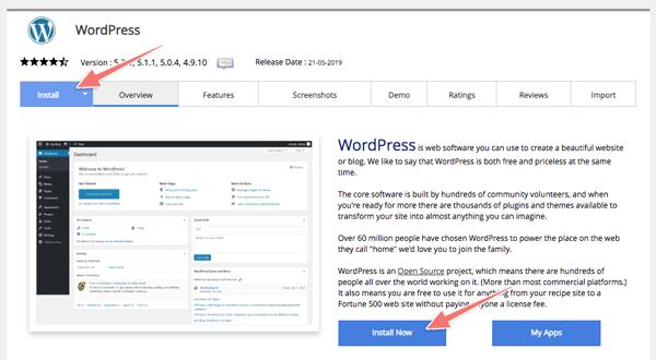 cài blog wordpress với 1 click
