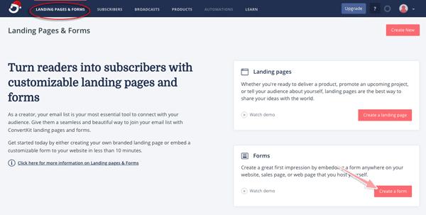 cách tạo form đăng ký email trong convertkit