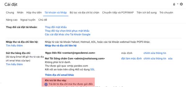 xác minh chuyển tiếp gmail