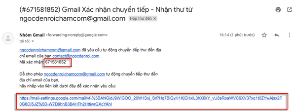 chuyển tiếp email gmail