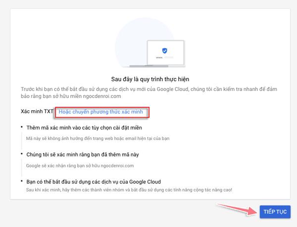 xác minh tên miền blog với google