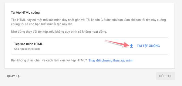 xác minh tên miền bằng tập tin html