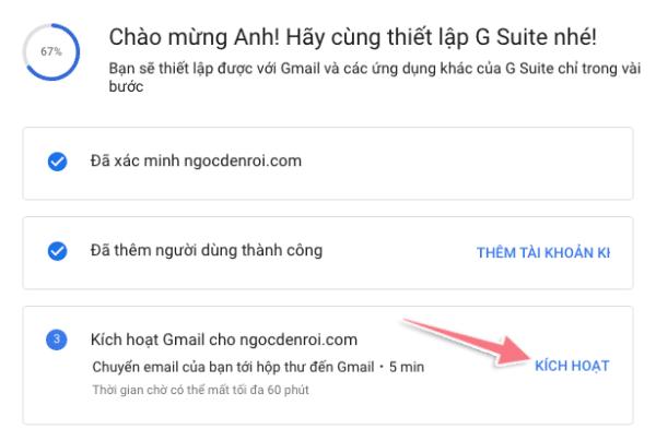 kích hoạt địa chỉ email tên miền riêng với google