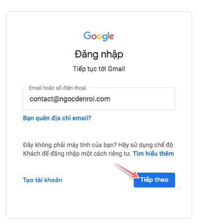 dang nhap email ten mien rieng tu gmail