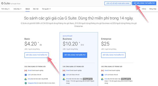 tạo email tên miền riêng với google