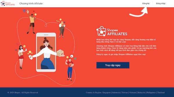 hướng dẫn đăng ký shopee affiliate kiếm tiền