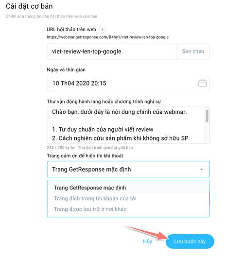 hướng dẫn tạo webinar với getresponse
