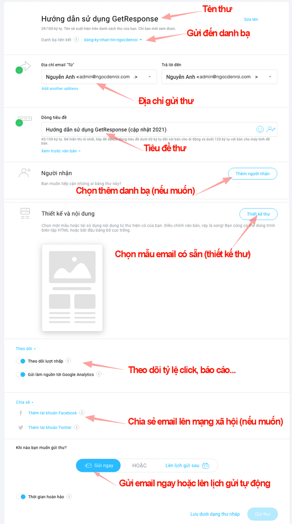 cách gửi email marketing trong getresponse
