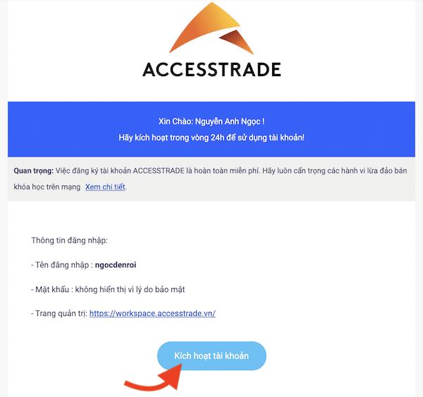 cách kích hoạt tài khoản accesstrade