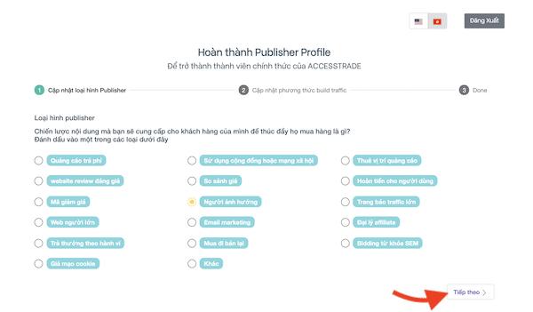 cập nhật hồ sơ publisher trên accesstrade