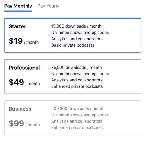 bảng giá dịch vụ lưu trữ podcast hosting