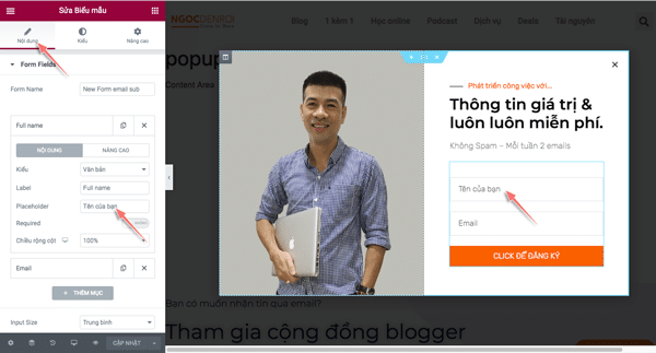 hướng tạo popup email với elementor