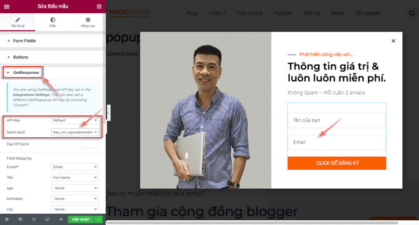 tạo popup email bằng elementor pro