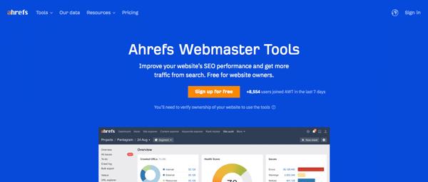 Công cụ nghiên cứu từ khoá Ahrefs Webmaster Tools