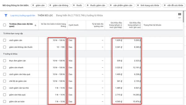 Cách nghiên cứu từ khoá bằng công cụ google keyword planner