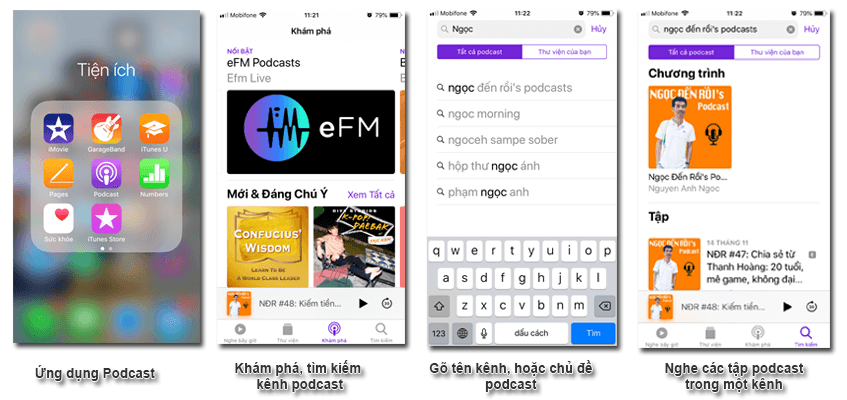cách nghe podcast trên iphone