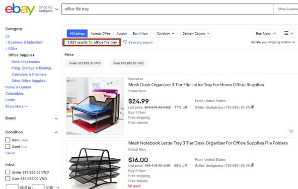 nghiên cứu từ khoá trên ebay