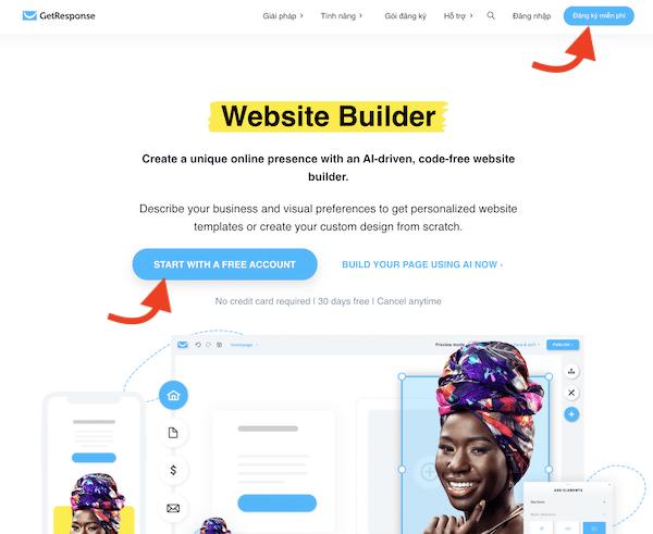 tạo website bán hàng với getresponse