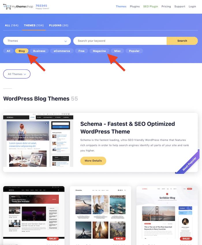 chọn giao diện cho blog wordpress