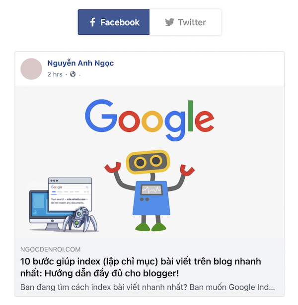 chia sẻ bài viết lên mạng xã hội giúp index nhanh hơn